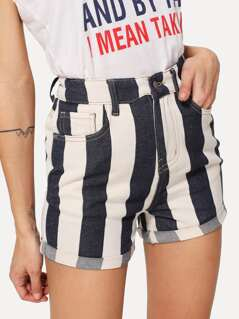 Cuffed Hem Striped Denim Shorts