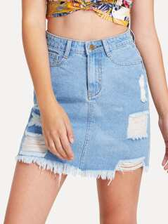 Light Wash Shredded Denim Skirt