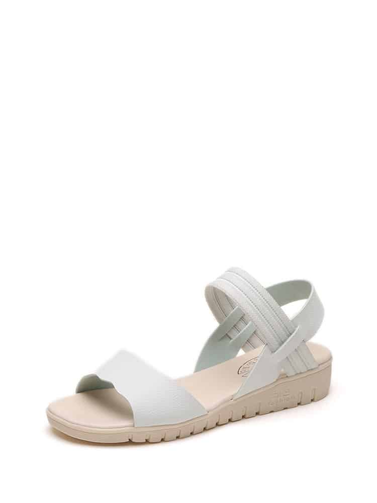 Scallop Detail Peep Toe Sandals black peep toe jewelled detail sandals
