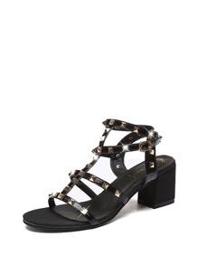 Metallic Rivets Decor Chunky Heeled Sandals