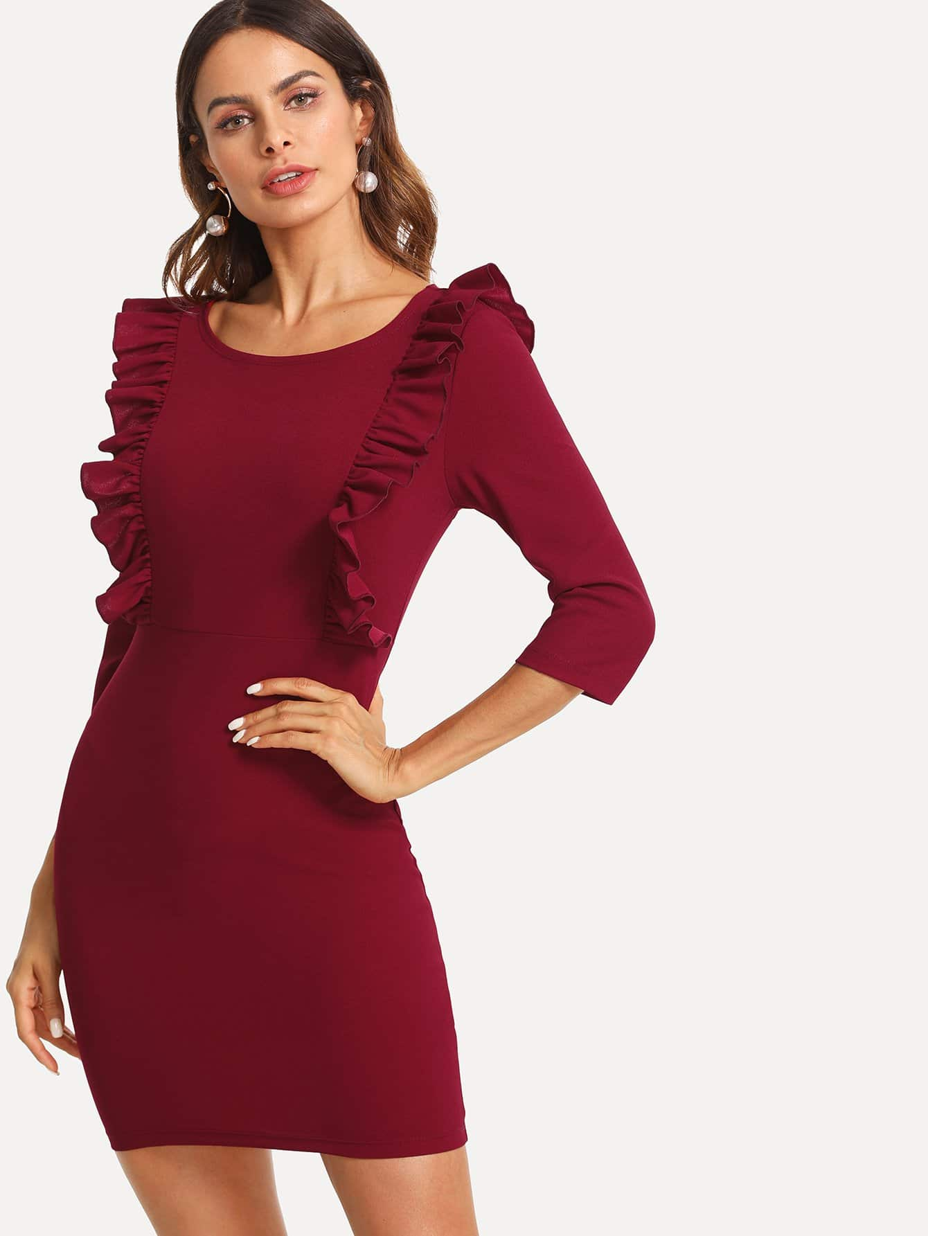 Ruffle Trim Zip Side Dress zip up side plaid dress