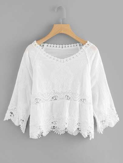 Hollow Out Crochet Panel Top