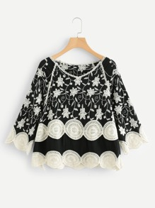 Scallop Trim Crochet Panel Embroidered Top