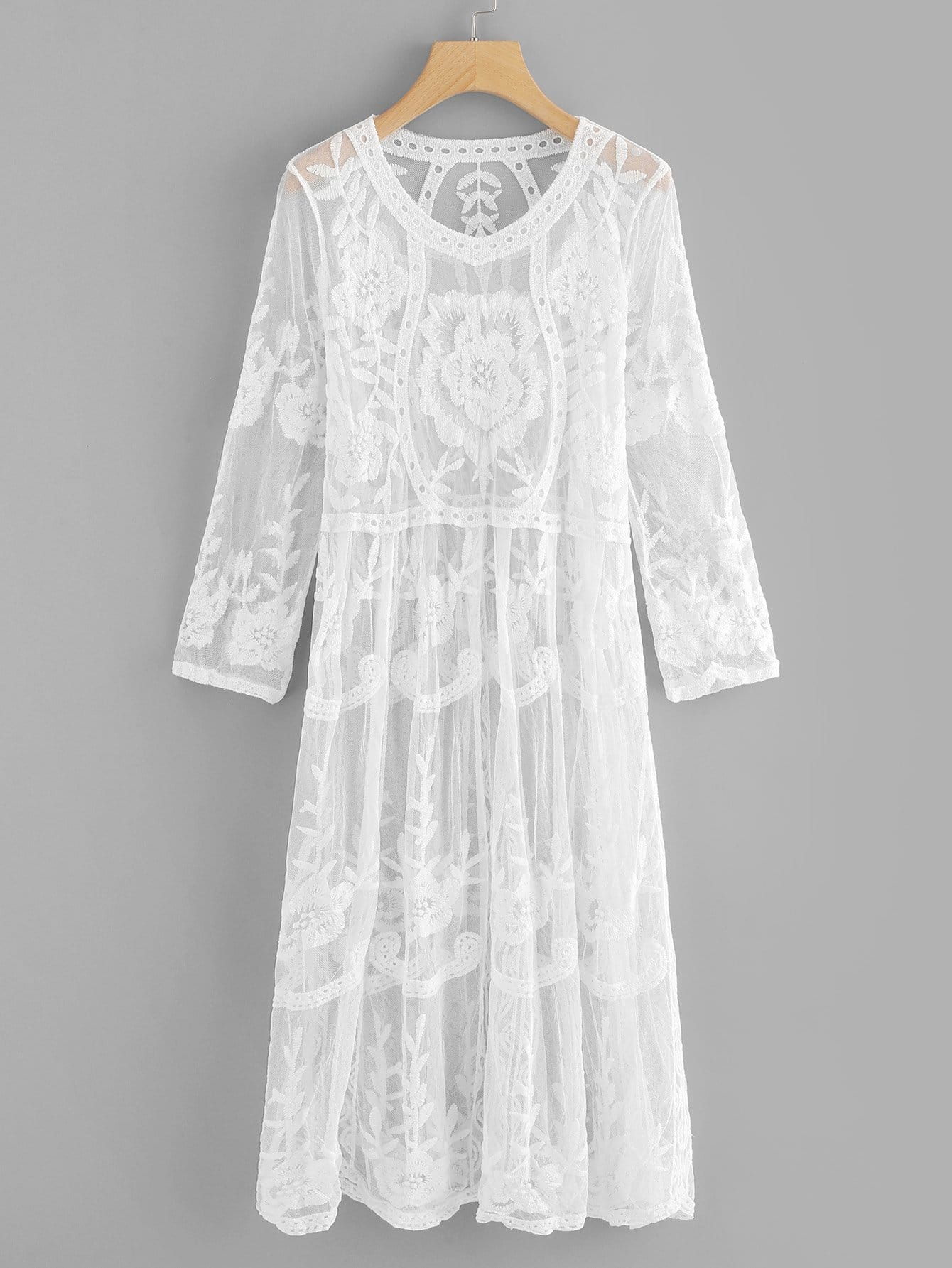 Floral Embroidered Sheer Lace Dress floral lace sheer top