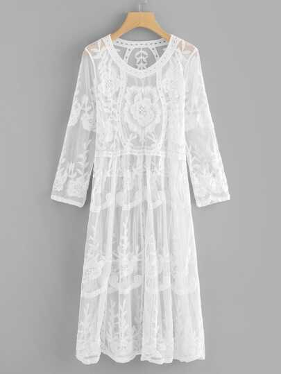 Floral Embroidered Sheer Lace Dress