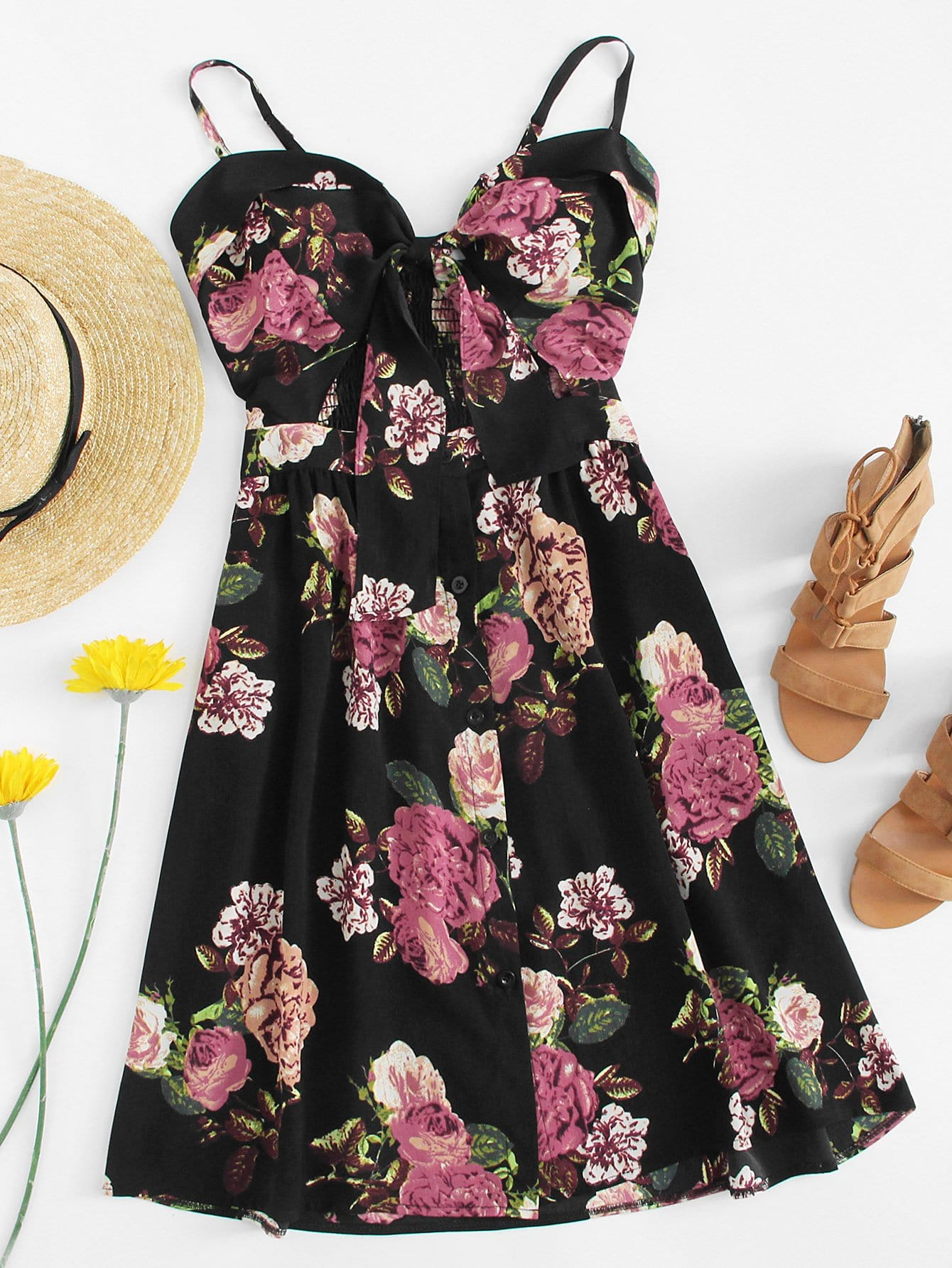 Bow Front Floral Print Cami Dress