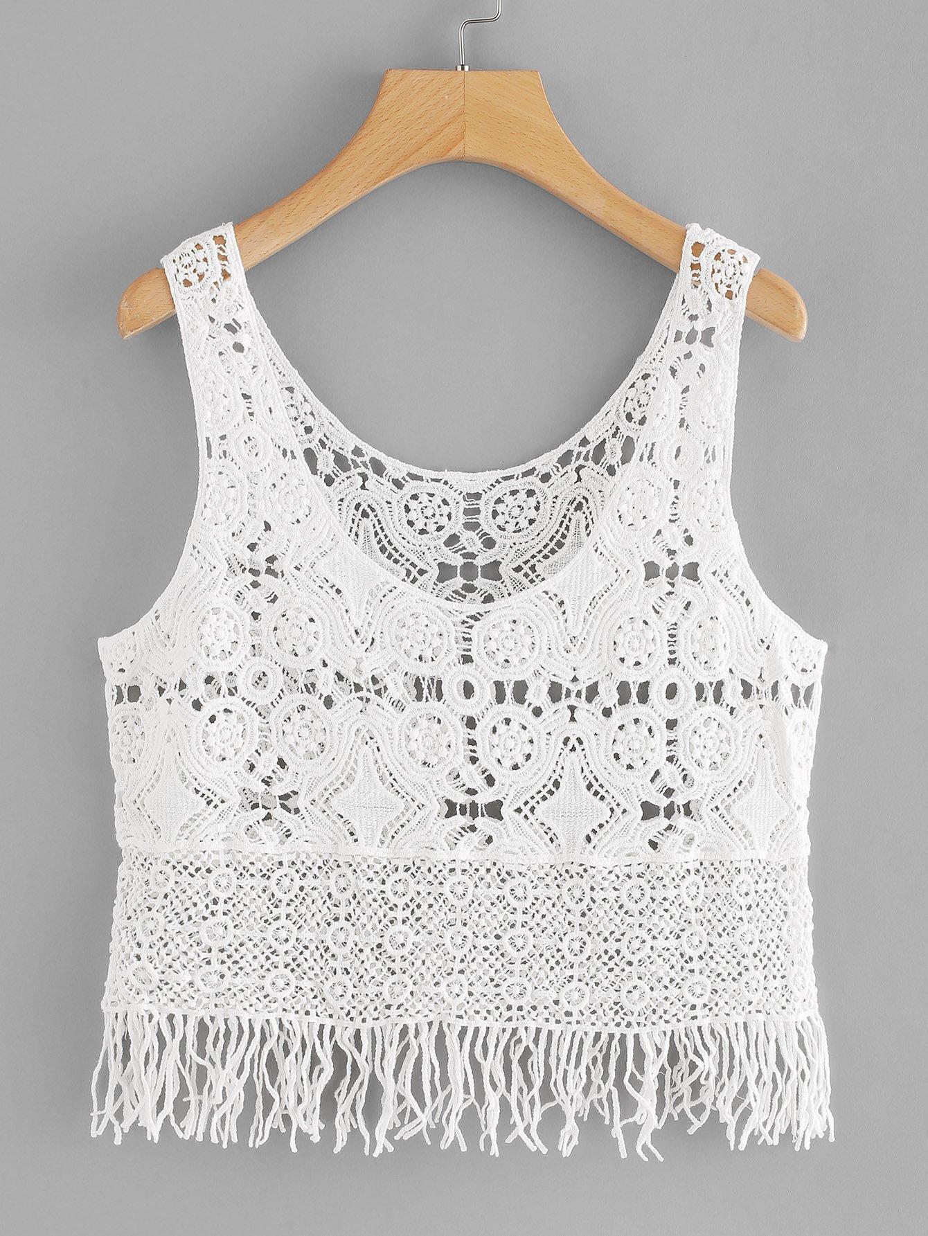 Fringe Hem Hollow Crochet Top feather print fringe embellished eyelet crochet top