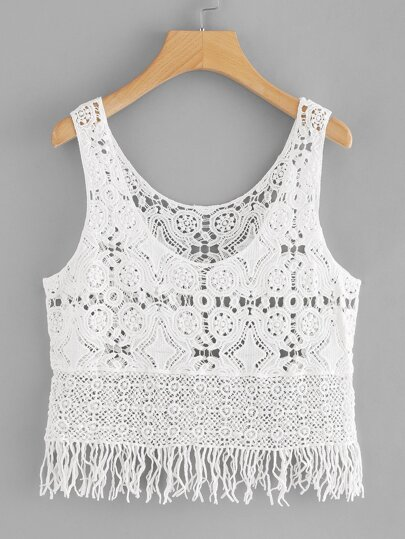 Fringe Hem Hollow Crochet Top
