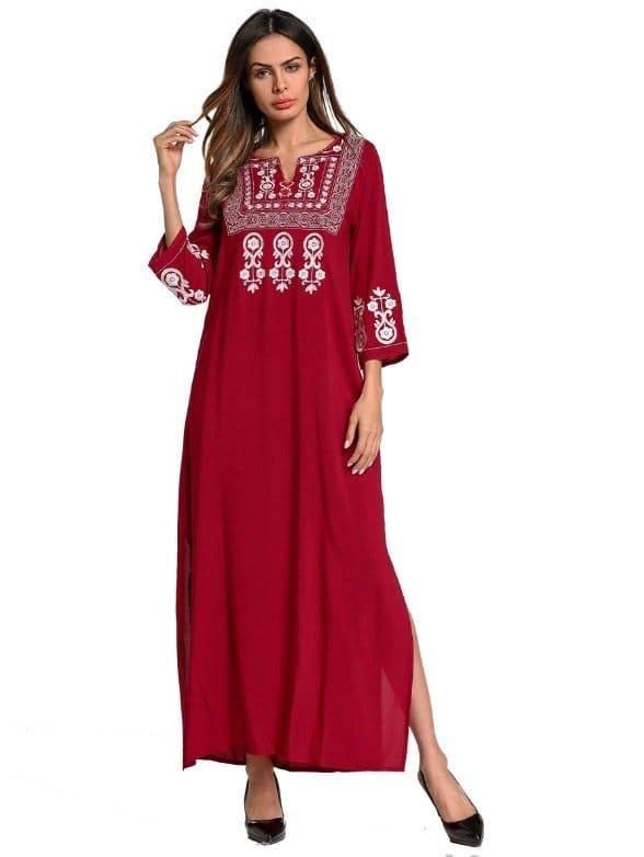 Floral Embroidered Split Side Longline Dress floral print split side dress