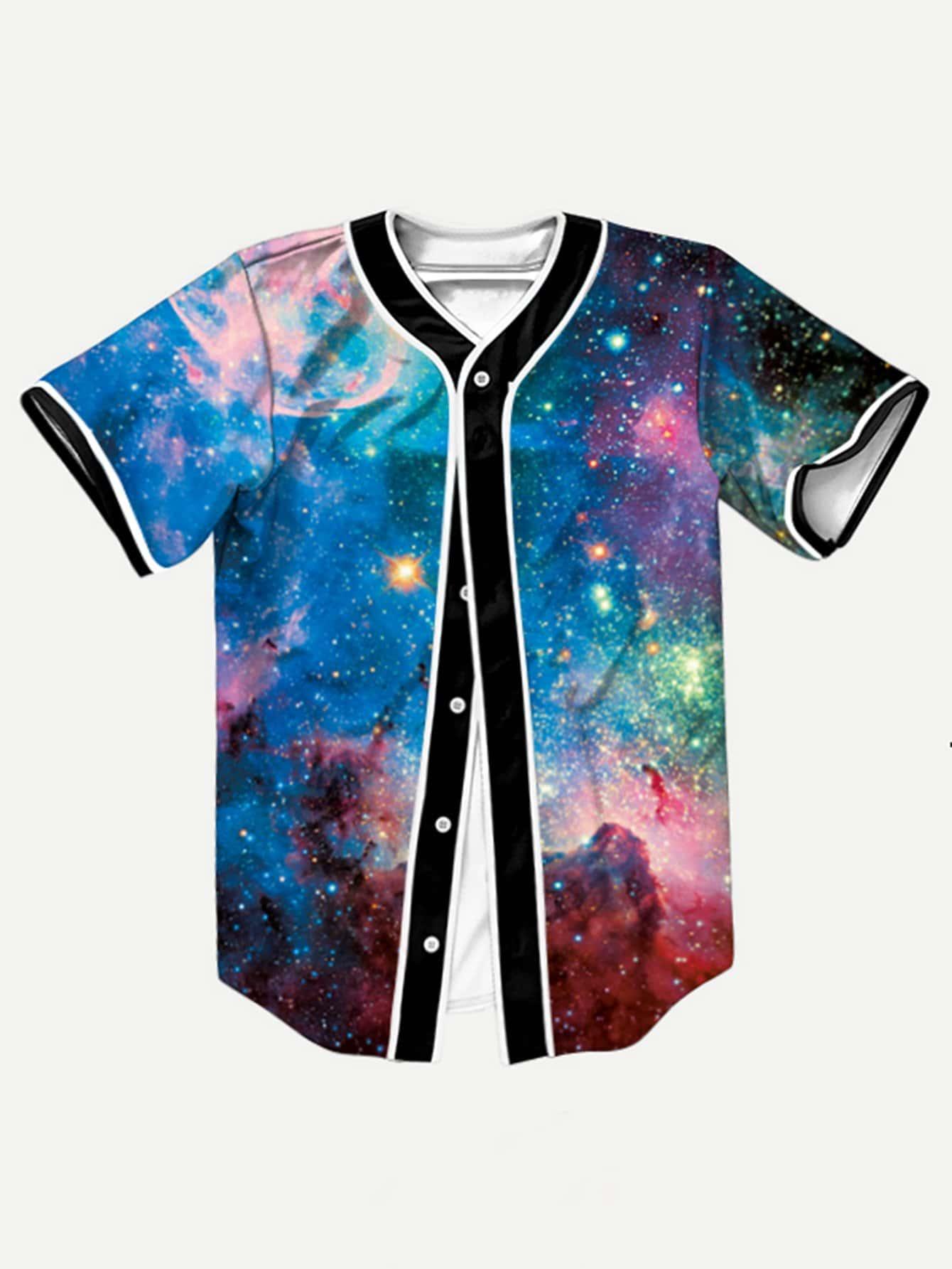 Купить Мужская асимметричная футболка с принтом галактики, null, SheIn