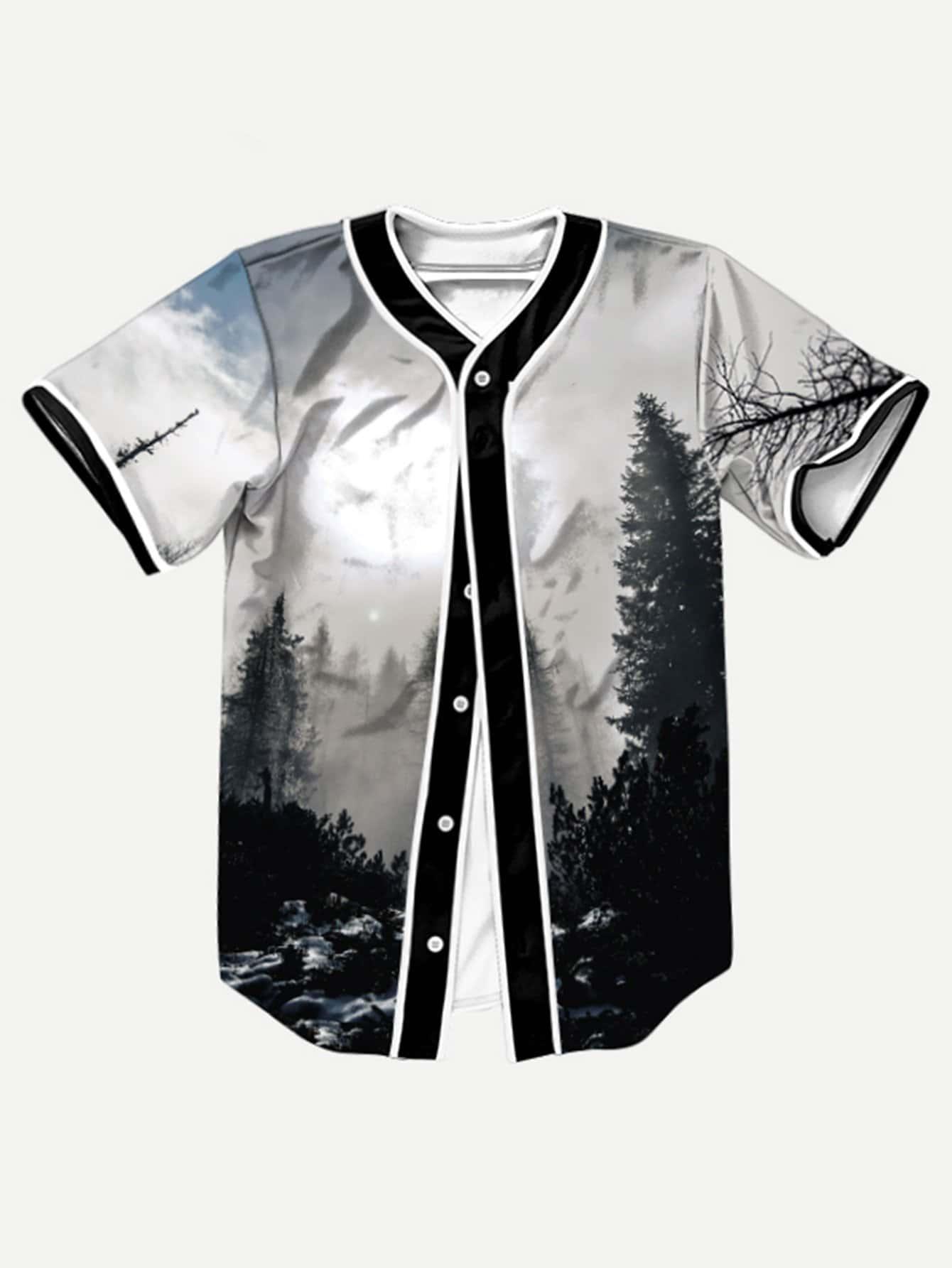 Asymmetrische Bluse mit Waldmuster