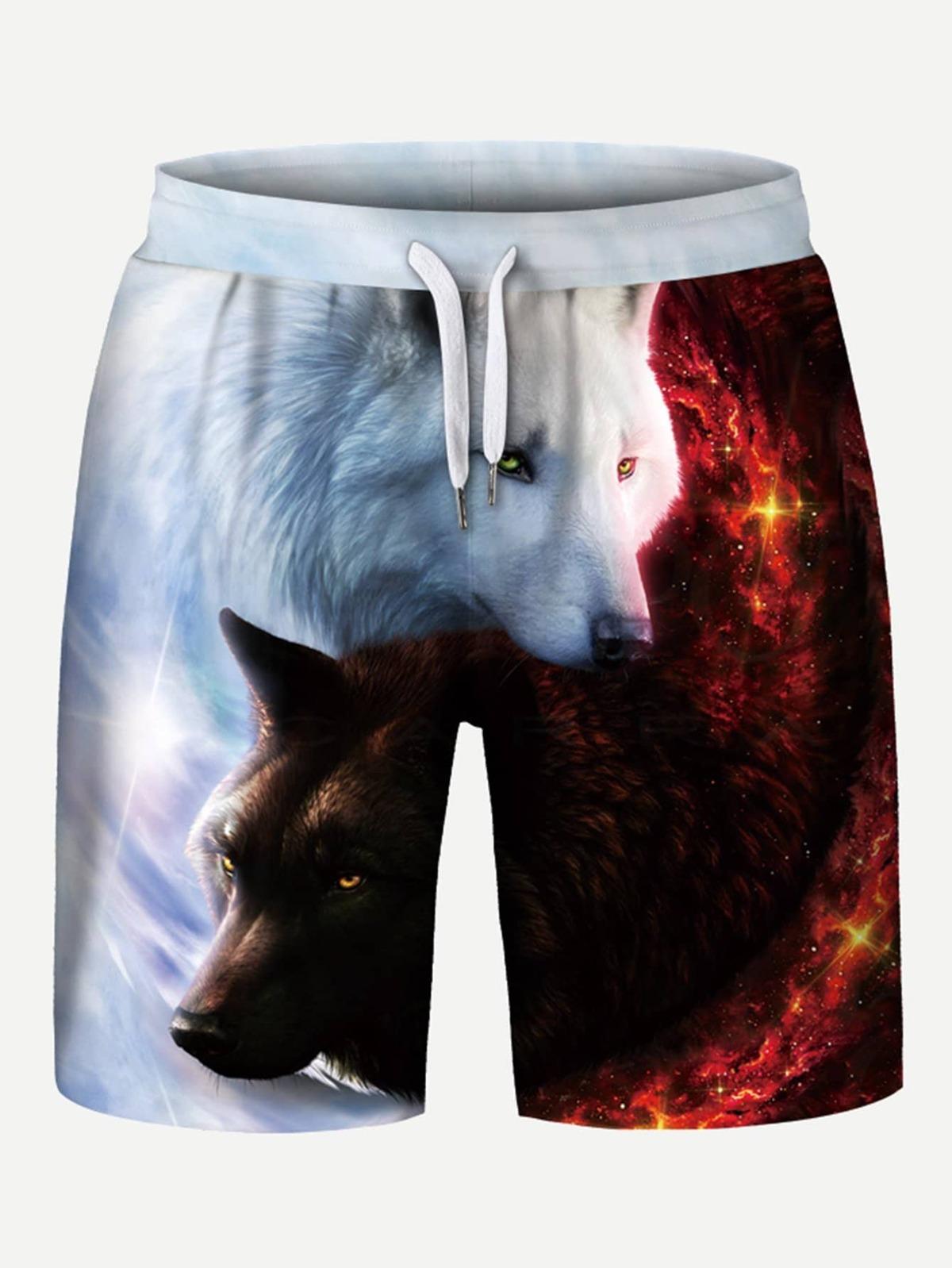 男人 狼來了. 圖片 束帶 短褲