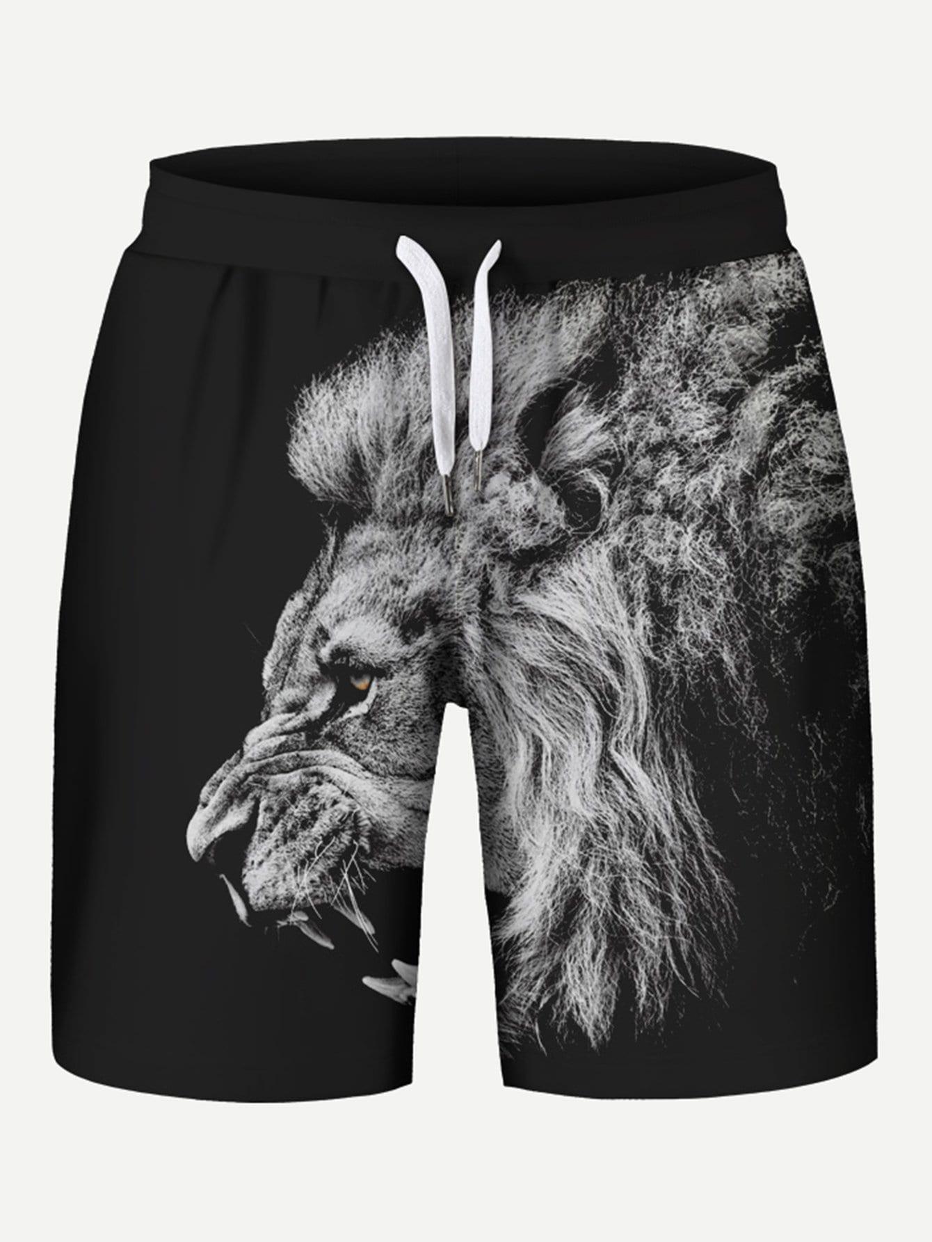 Купить Шорты с принтом лев для мужчин, null, SheIn