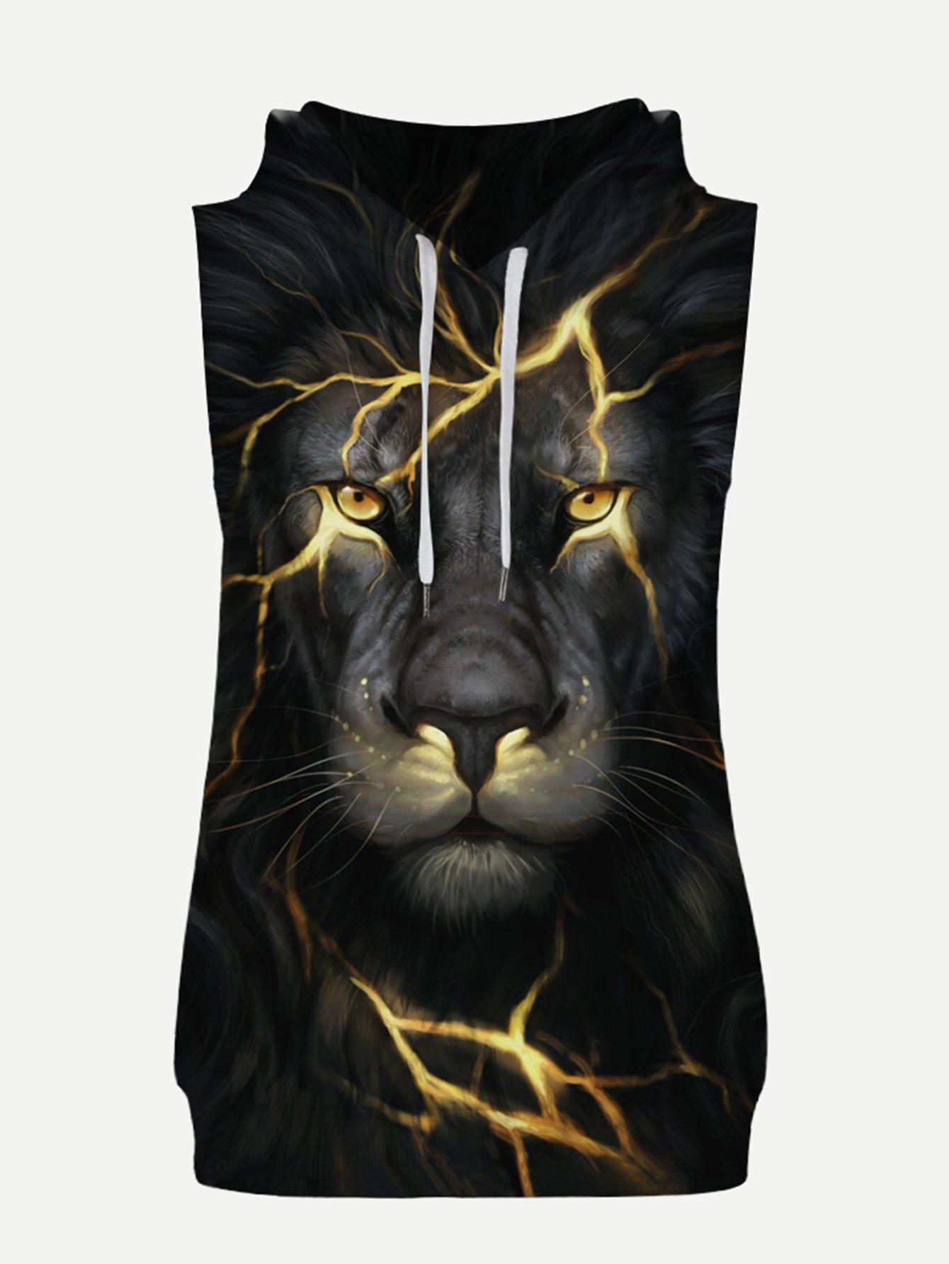 Мужчин Тигр Печати Без Рукавов Балахон