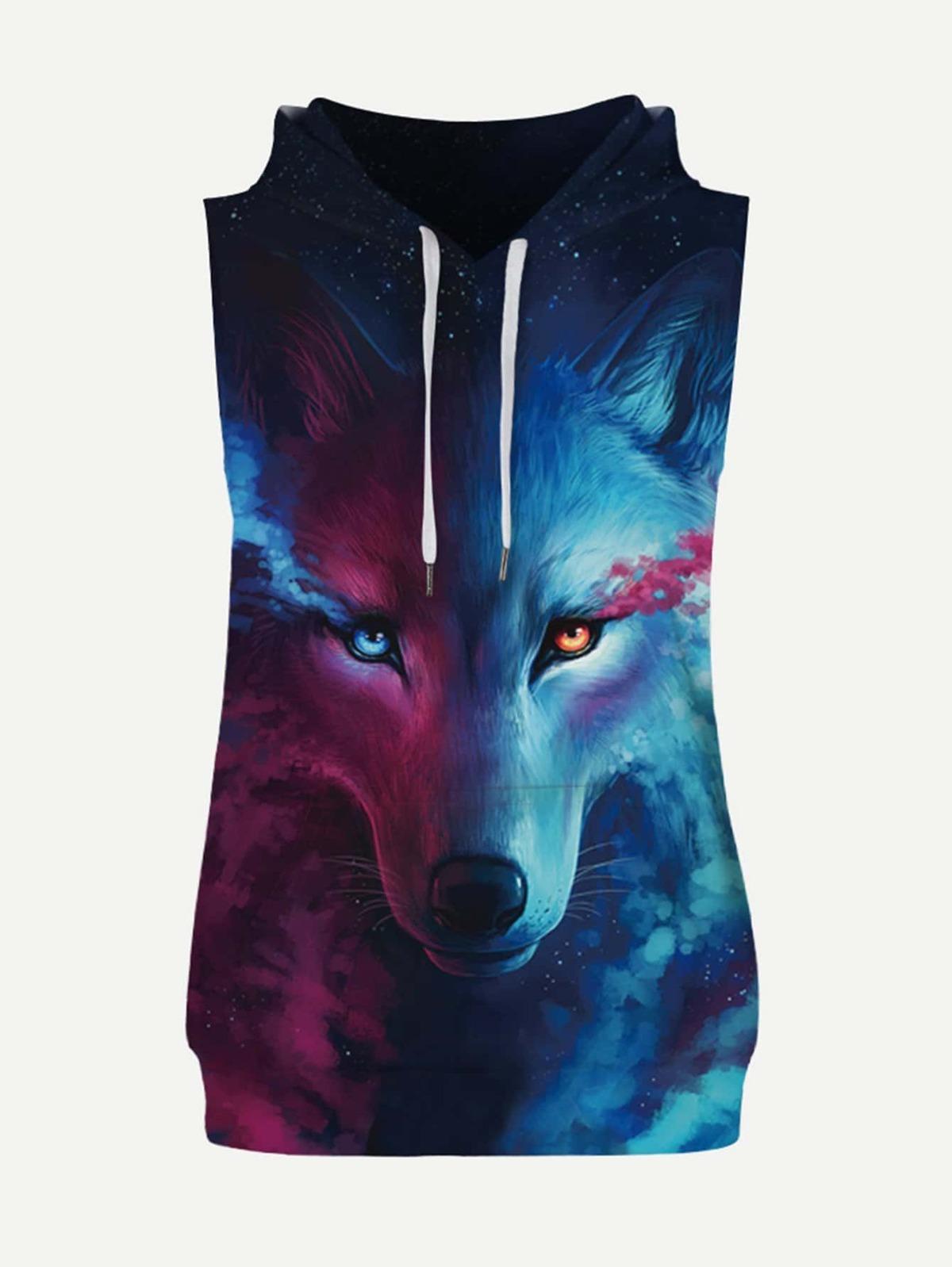 男人 狼來了. 圖片 連帽 T恤衫