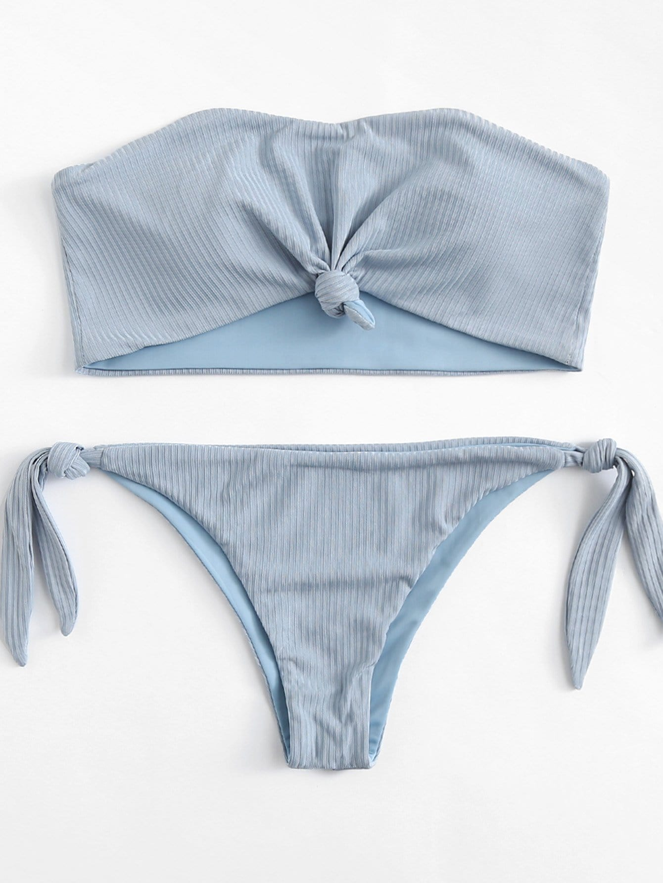 Knot Side Solid Ribbed Bandeau Bikini Set