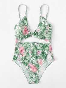 Knot Cutout Tropical Print Swimsuit