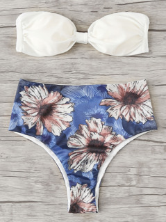 Flower Print Knot Bikini Set
