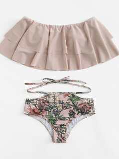 Botanical Print Ruffle Layered Bikini Set
