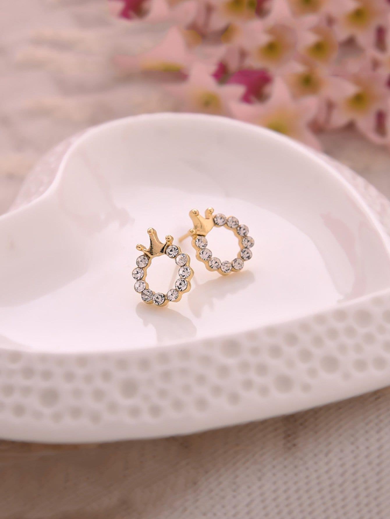 Crown Detail Hoop Earrings bow detail hoop drop earrings