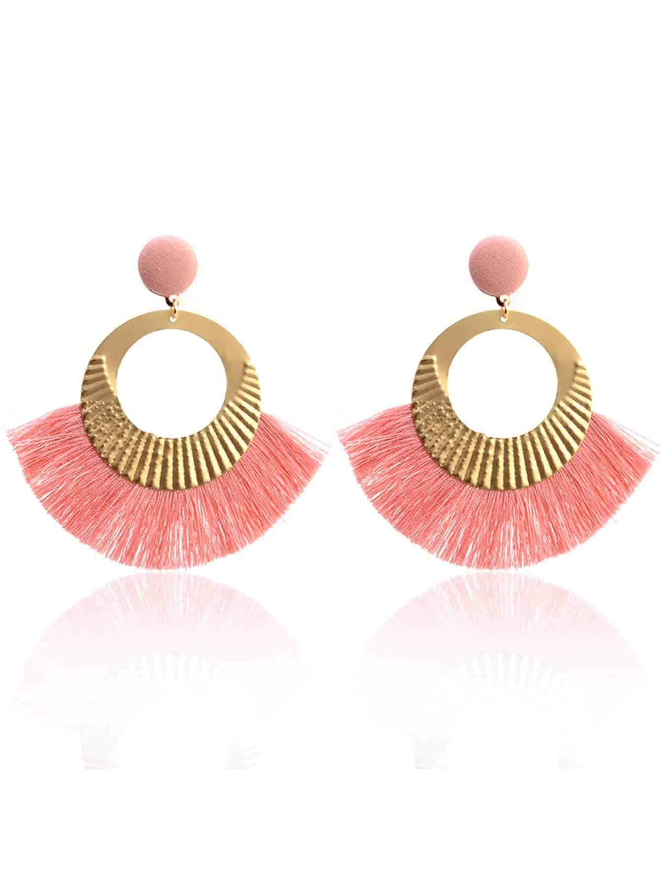 Two Tone Tassel Dangle Earrings statement rhinestone tassel dangle earrings