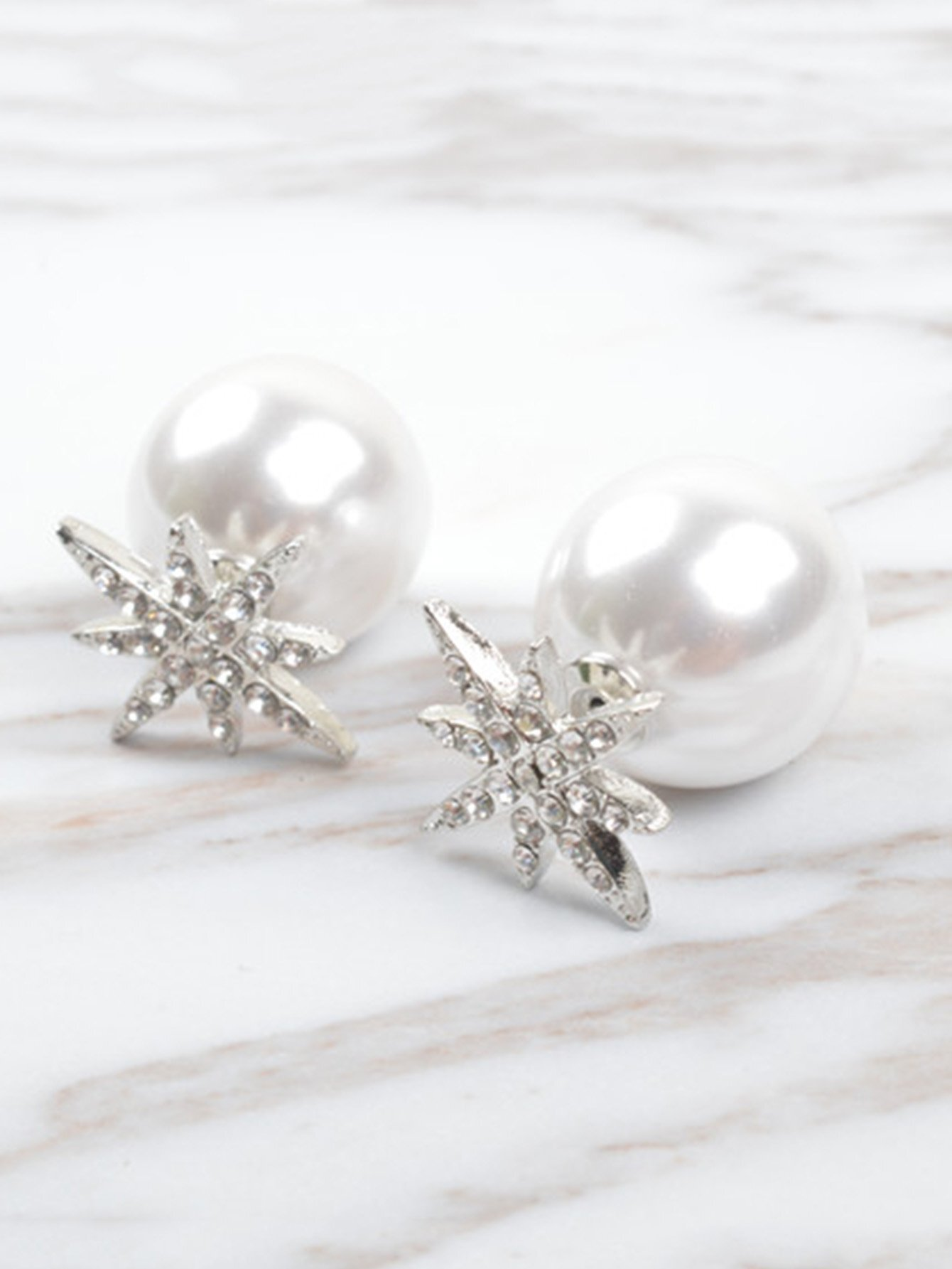 Фото Faux Pearl Reversible Stud Earrings faux pearl round stud earrings
