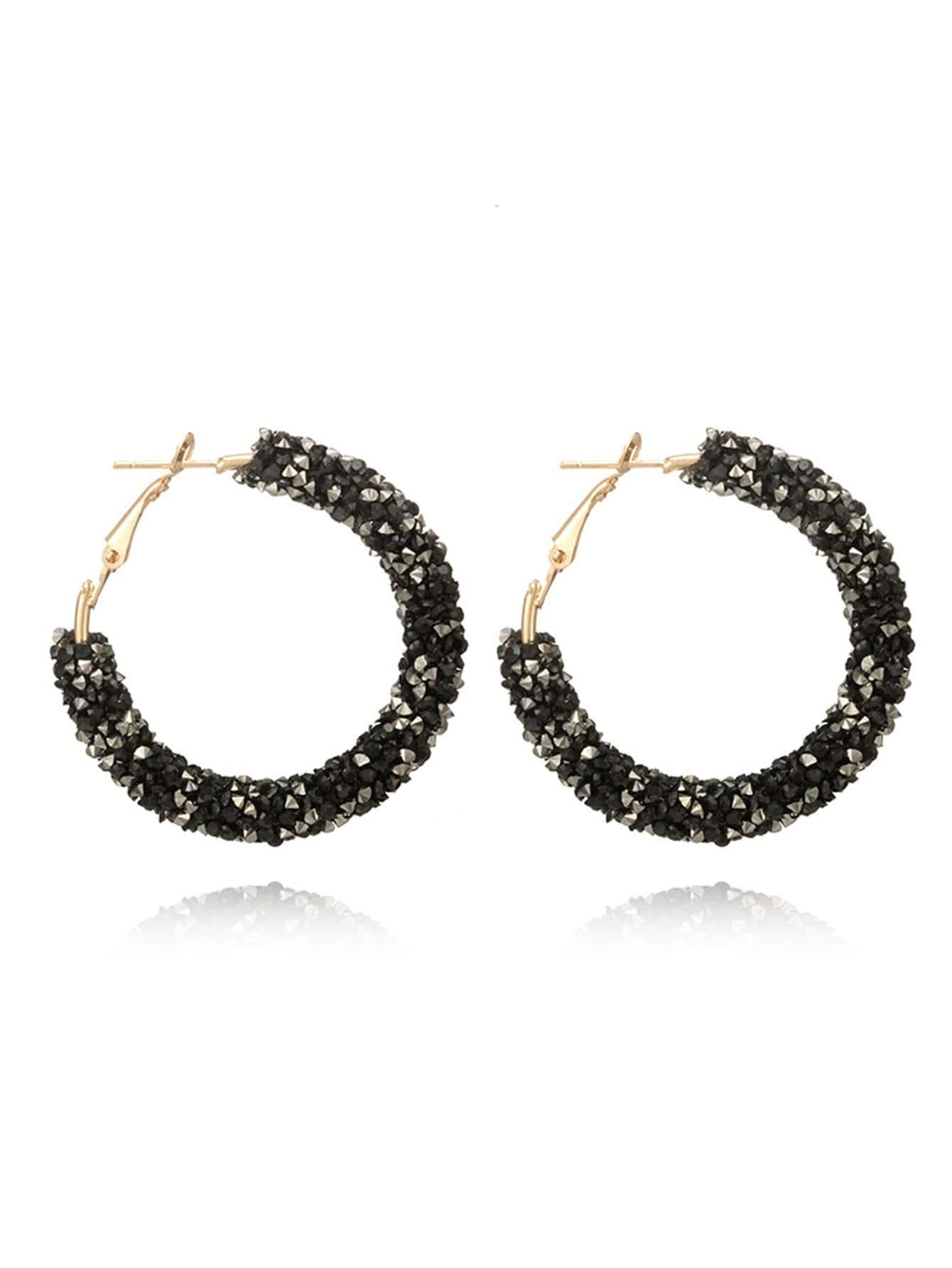 Glitter Stone Hoop Earrings glitter hoop stud earrings