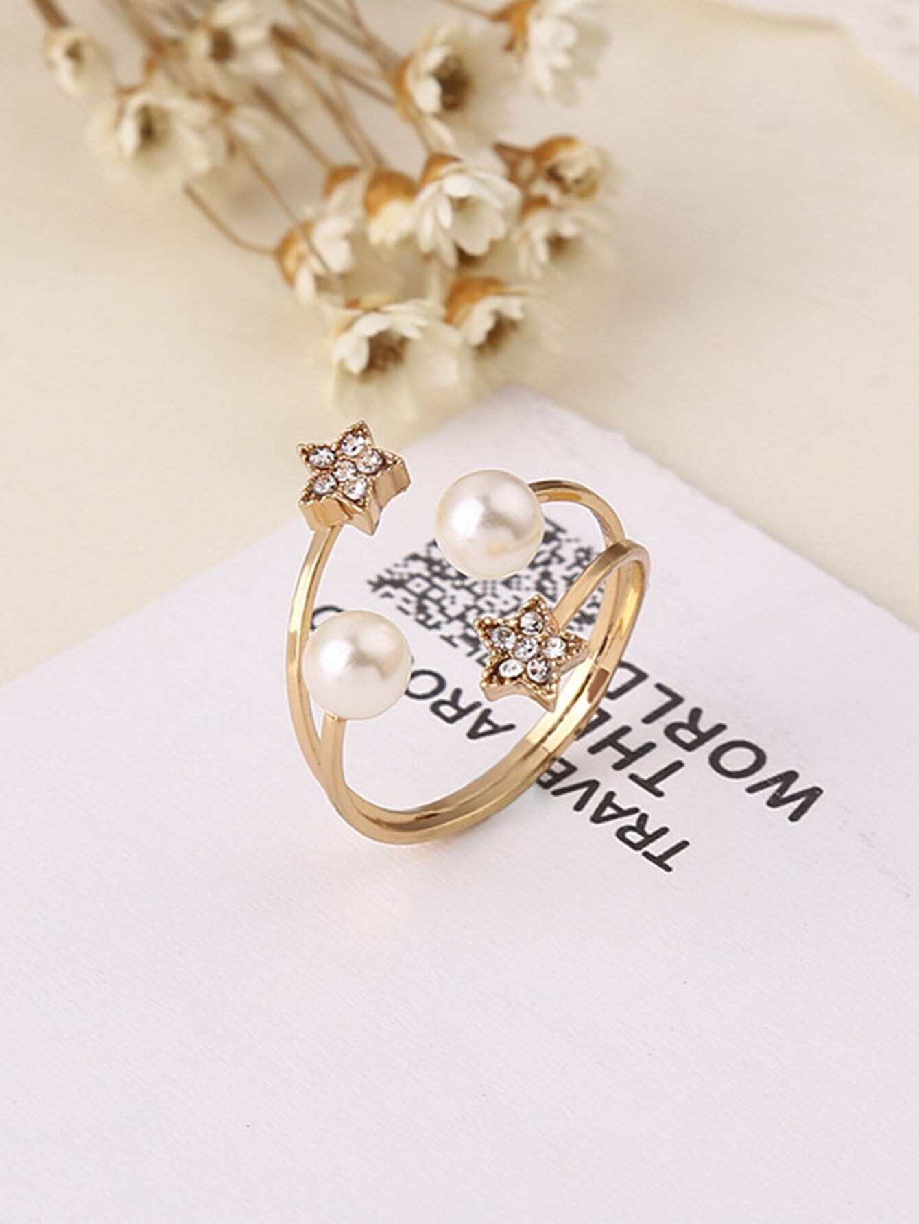 Star Detail Cuff Ring filigree infinity polished cuff ring