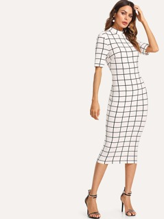Mock Neck Grid Pencil Dress