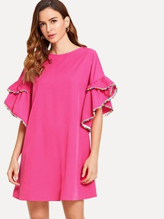Pompom Embellished Asymmetrical Ruffle Cuff Tunic Dress