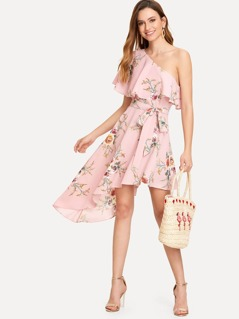 Flounce Trim One Shoulder Asymmetrical Belted Dress