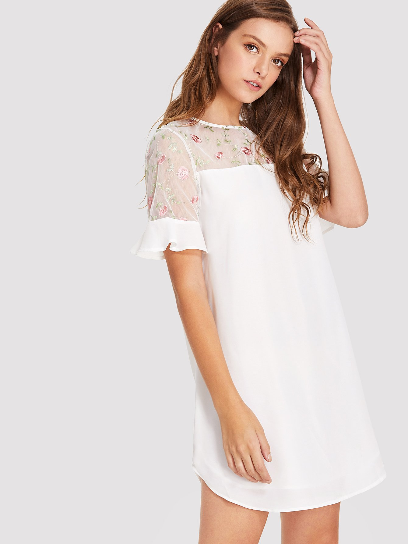 Floral Embroidered Mesh Yoke Ruffle Cuff Dress ixth50p10 to 247