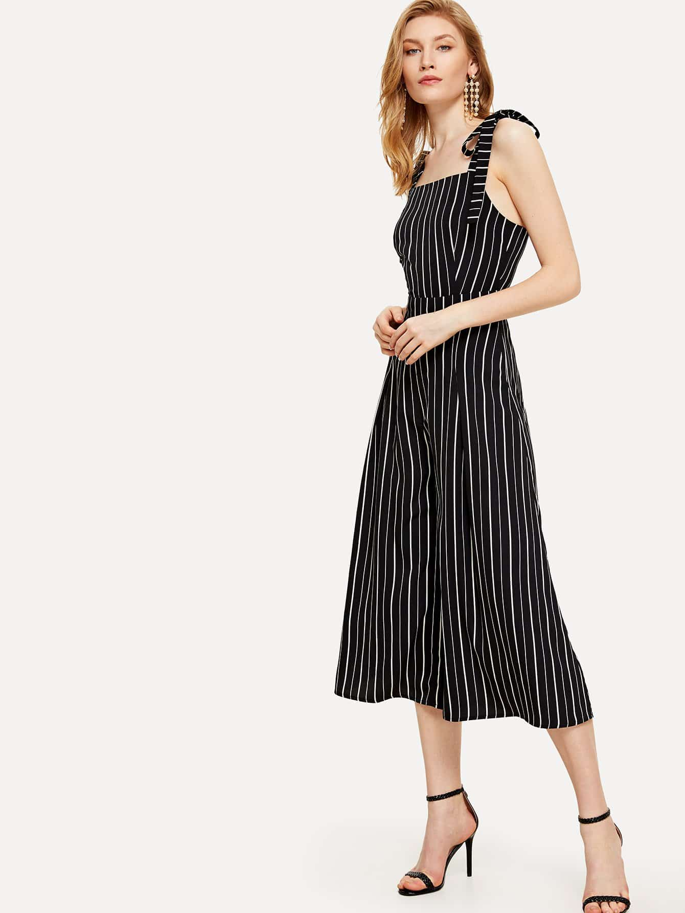 Self Tie Shoulder Wide Leg Striped Jumpsuit shirred panel wide leg striped jumpsuit