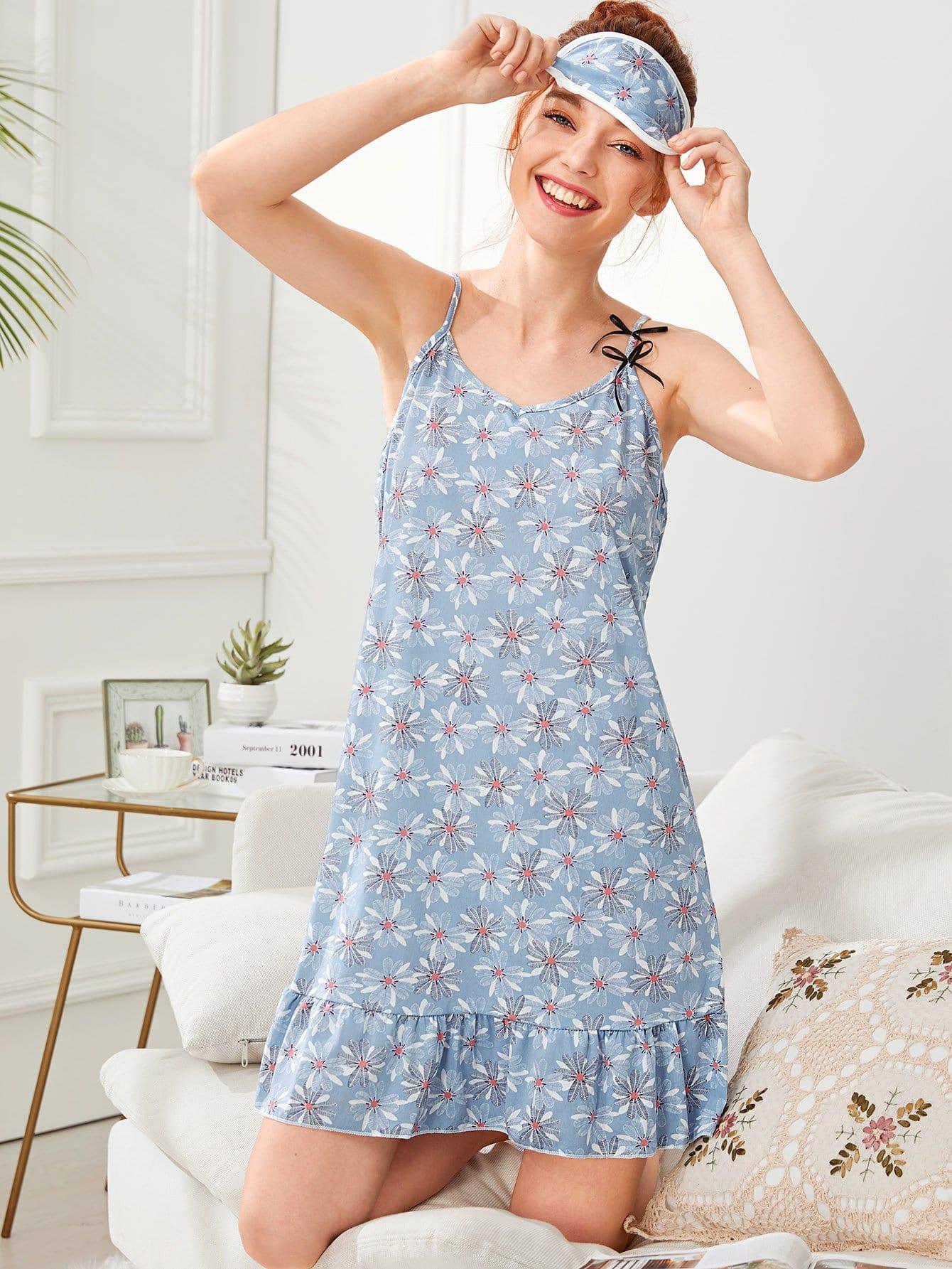 Flower Print Ruffle Hem Cami Dress With Eye Mask ruffle hem solid pajama set with eye mask