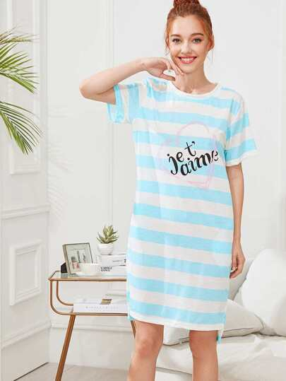 Letter Print Striped Night Dress