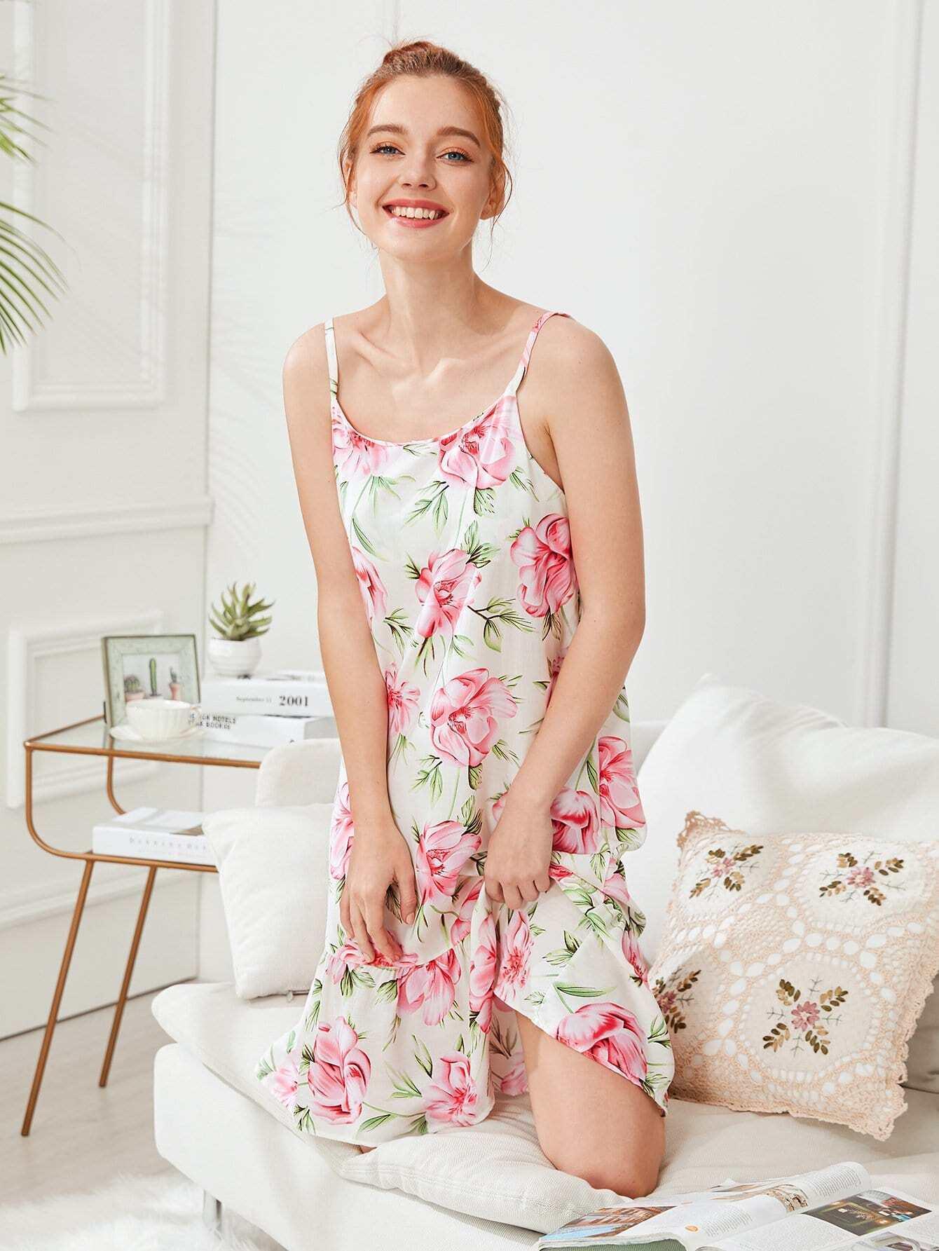 Flower Print Ruffle Hem Cami Dress flower print ruffle hem top