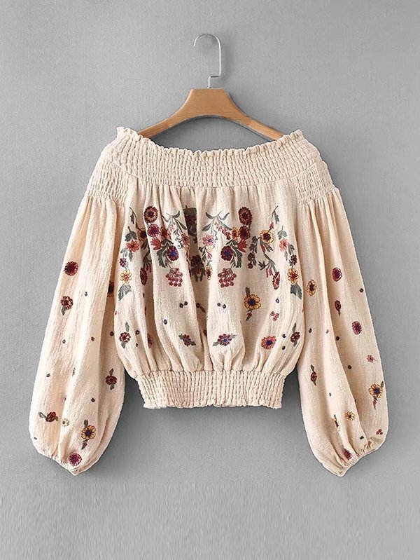 Shirred Bardot Embroidery Top flower print shirred bardot top