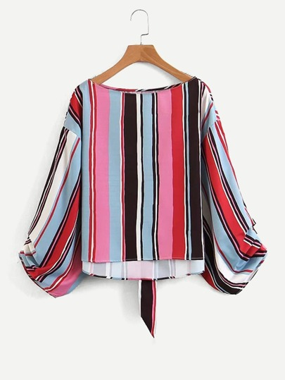 Multi-Stripe Tie Back Blouse