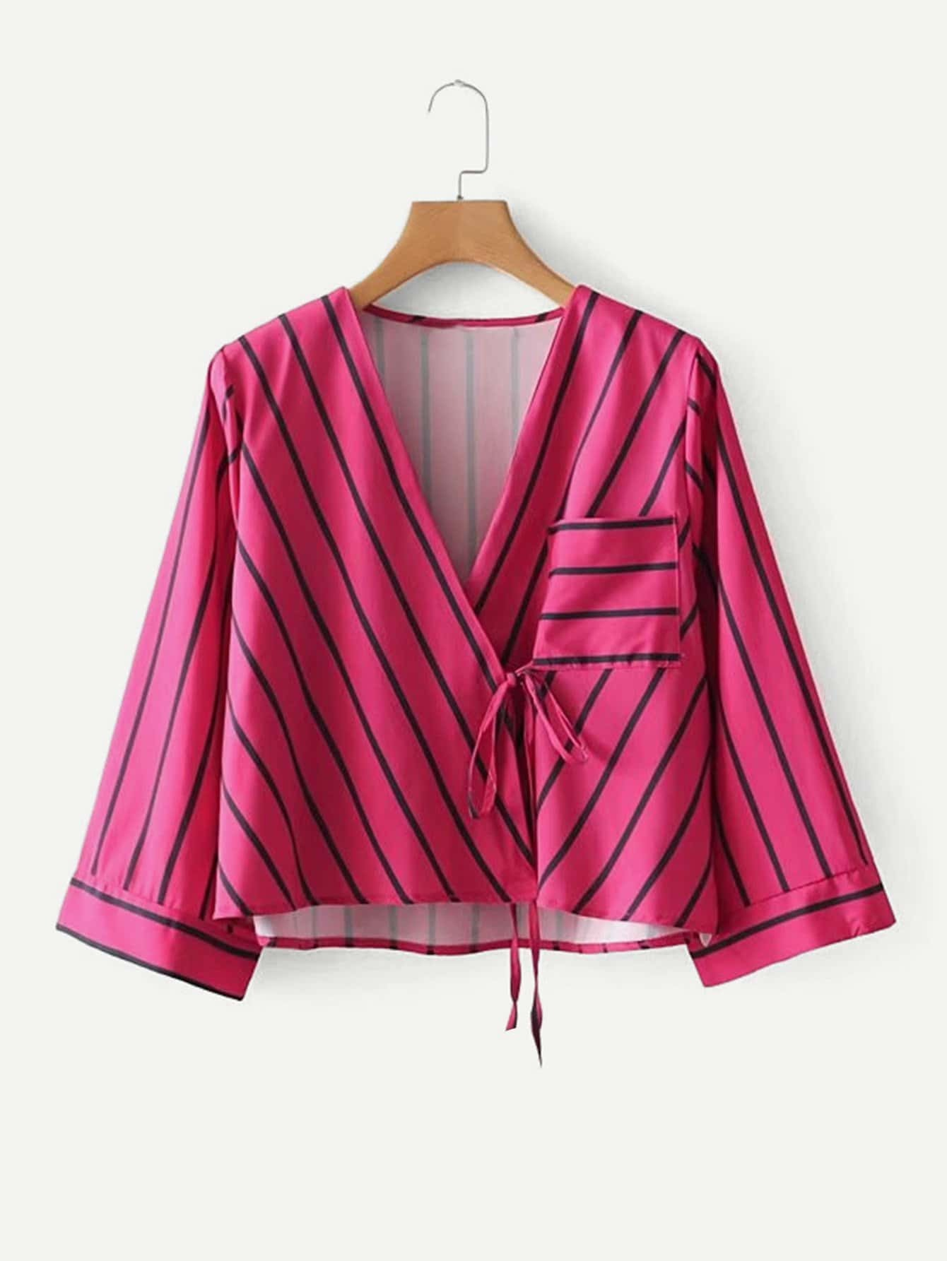Striped Wrap Blouse striped wrap blouse