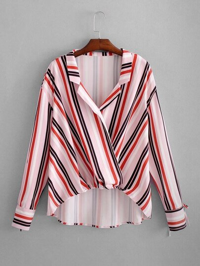 Multi-Stripe Dip Hem Blouse