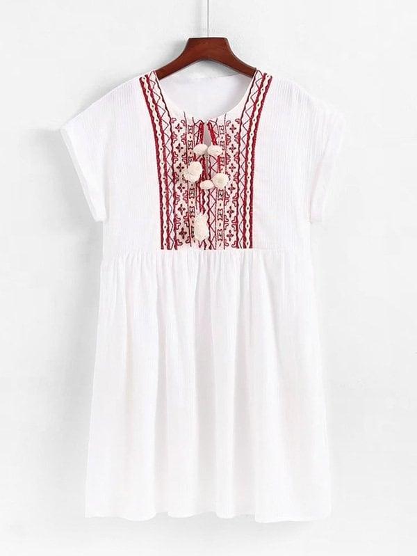 Geo Embroidered Pom Pom Detail Babydoll Dress pom pom detail cami and shorts set