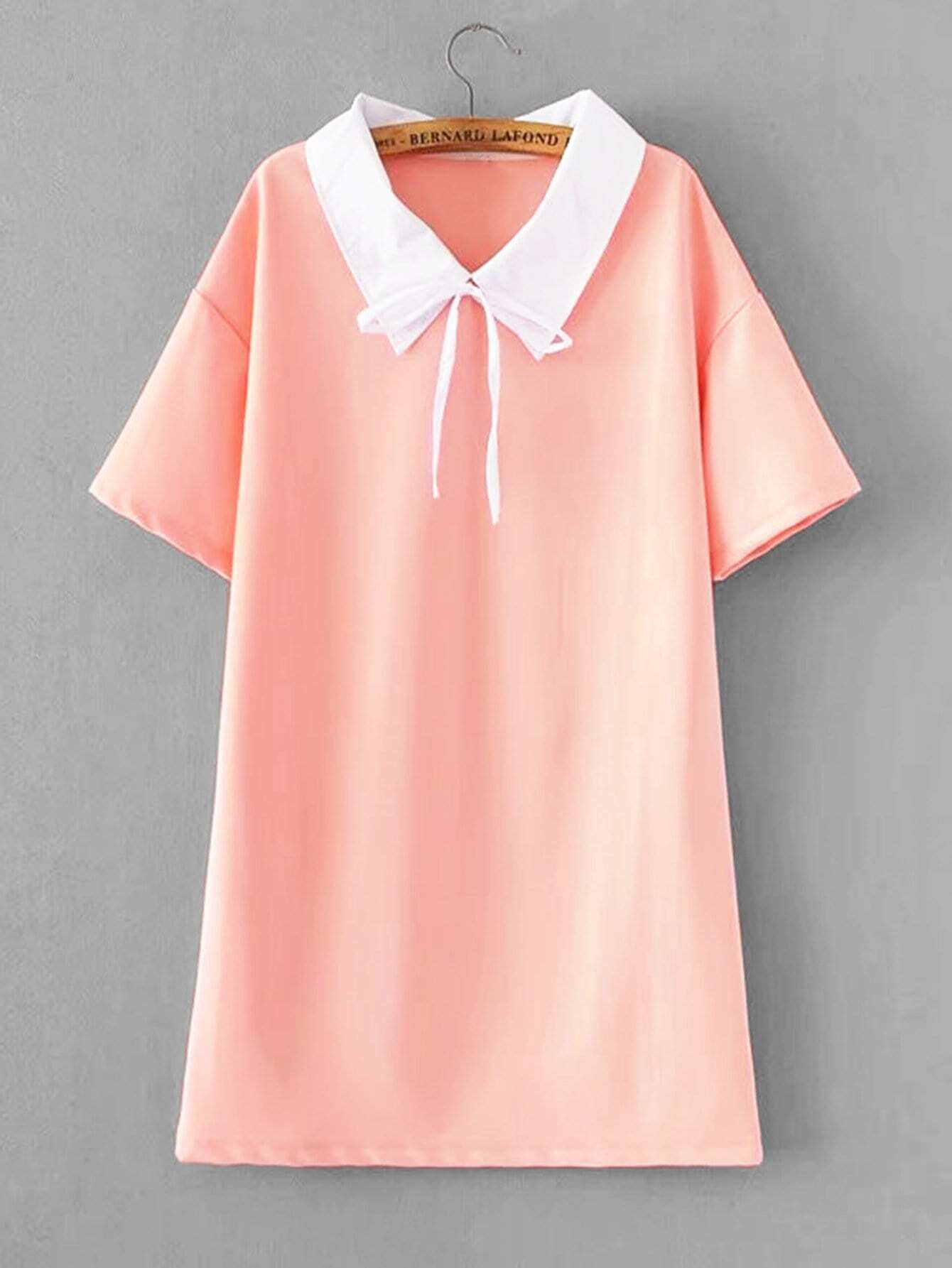 Contrast Collar Drop Shoulder Dress
