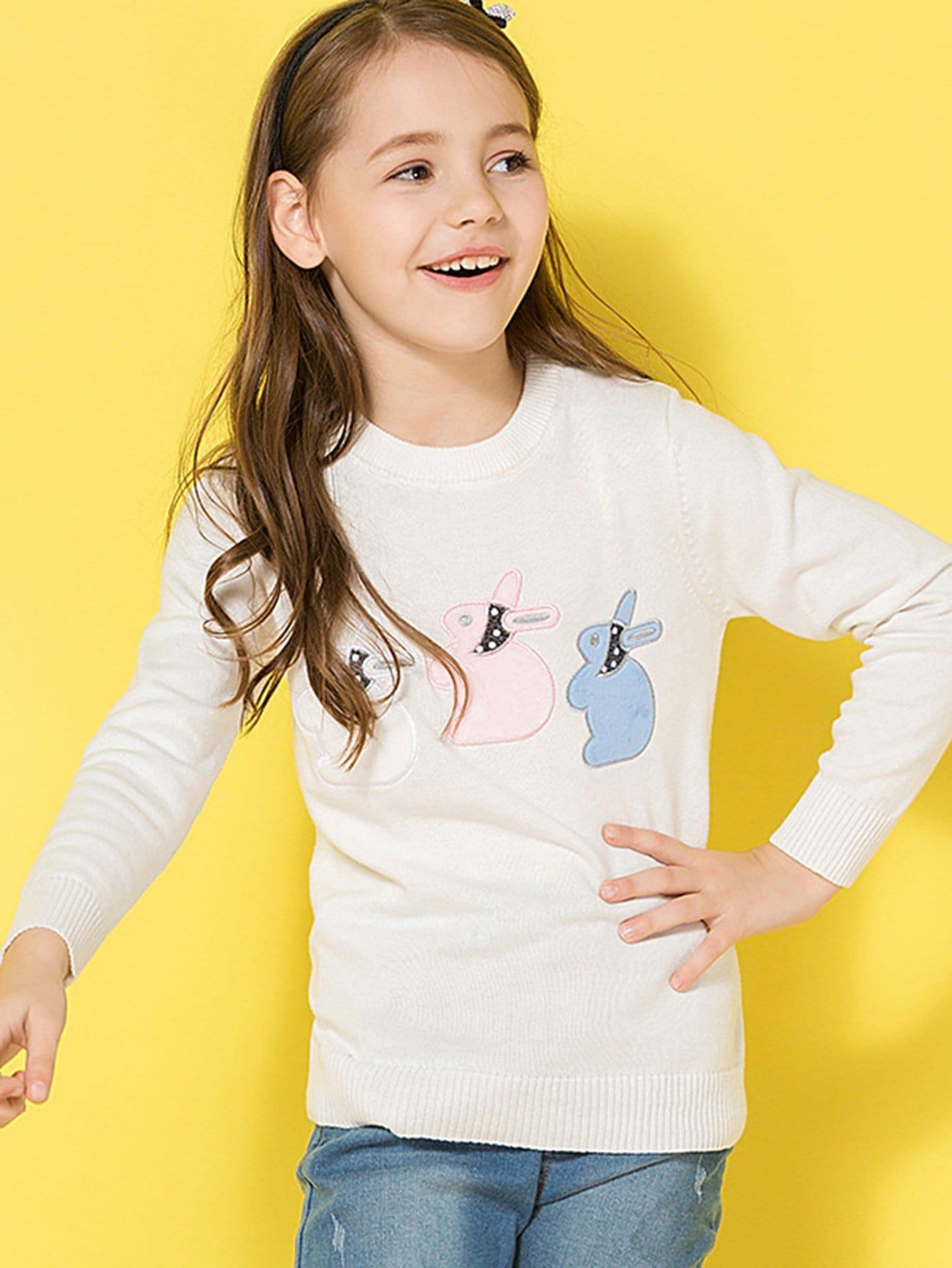 Girls Rabbits Embroidered Jumper girls spot embroidered sleeveless jumper