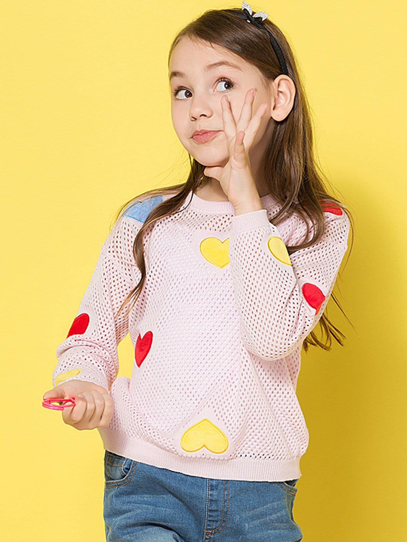Girls Heart Embroidered Eyelet Jumper girls spot embroidered sleeveless jumper