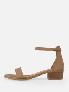 Single Band Ankle Strap Low Block Heel
