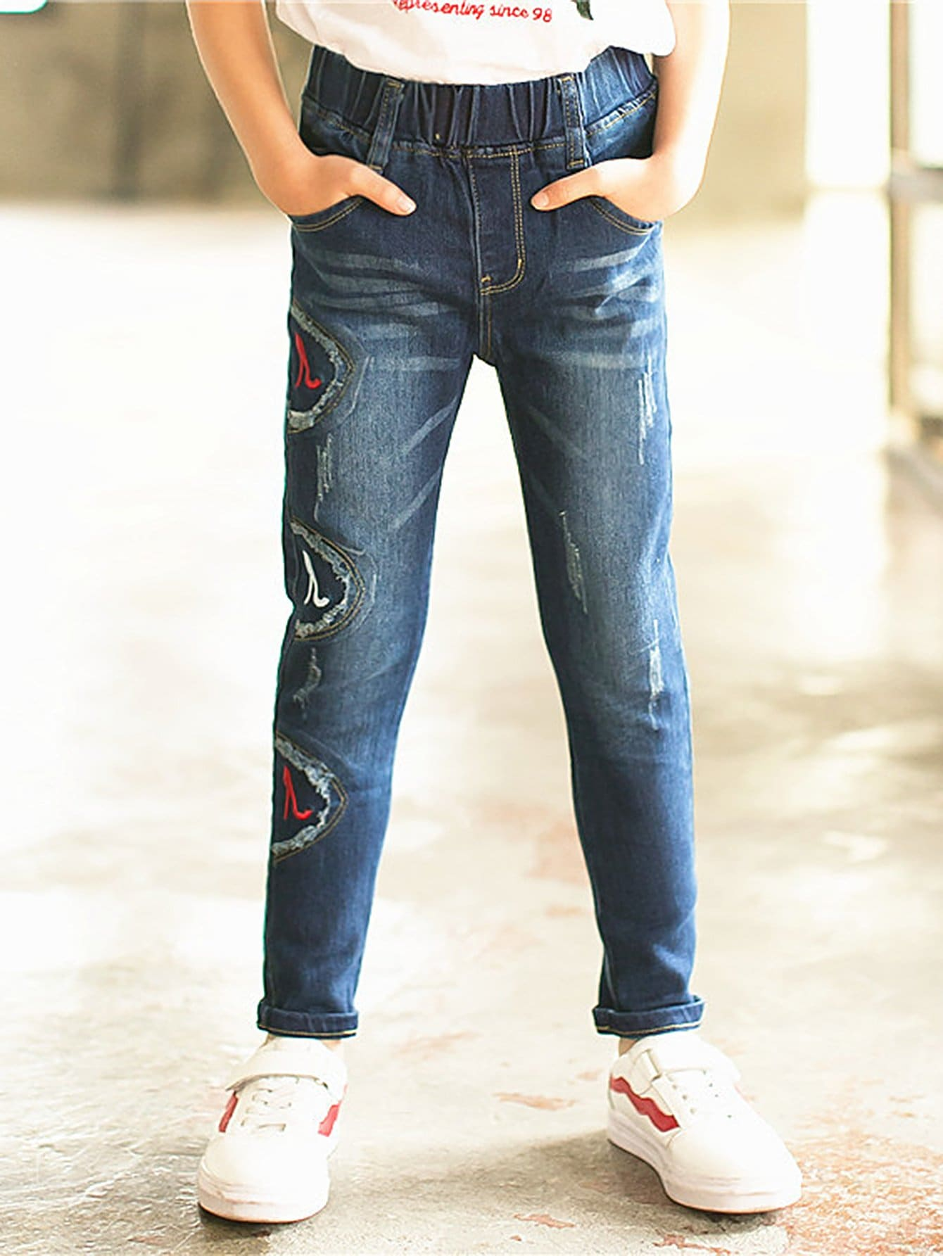 Kids High Heels Embroidered Jeans emoji embroidered jeans