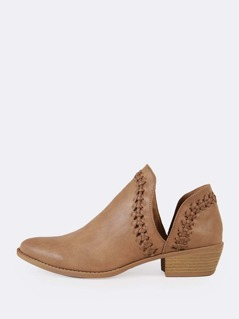 Cut Out Ankle Weaved Trim Almond Toe Booties