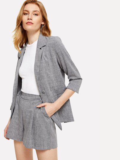 Heathered Blazer With Shorts