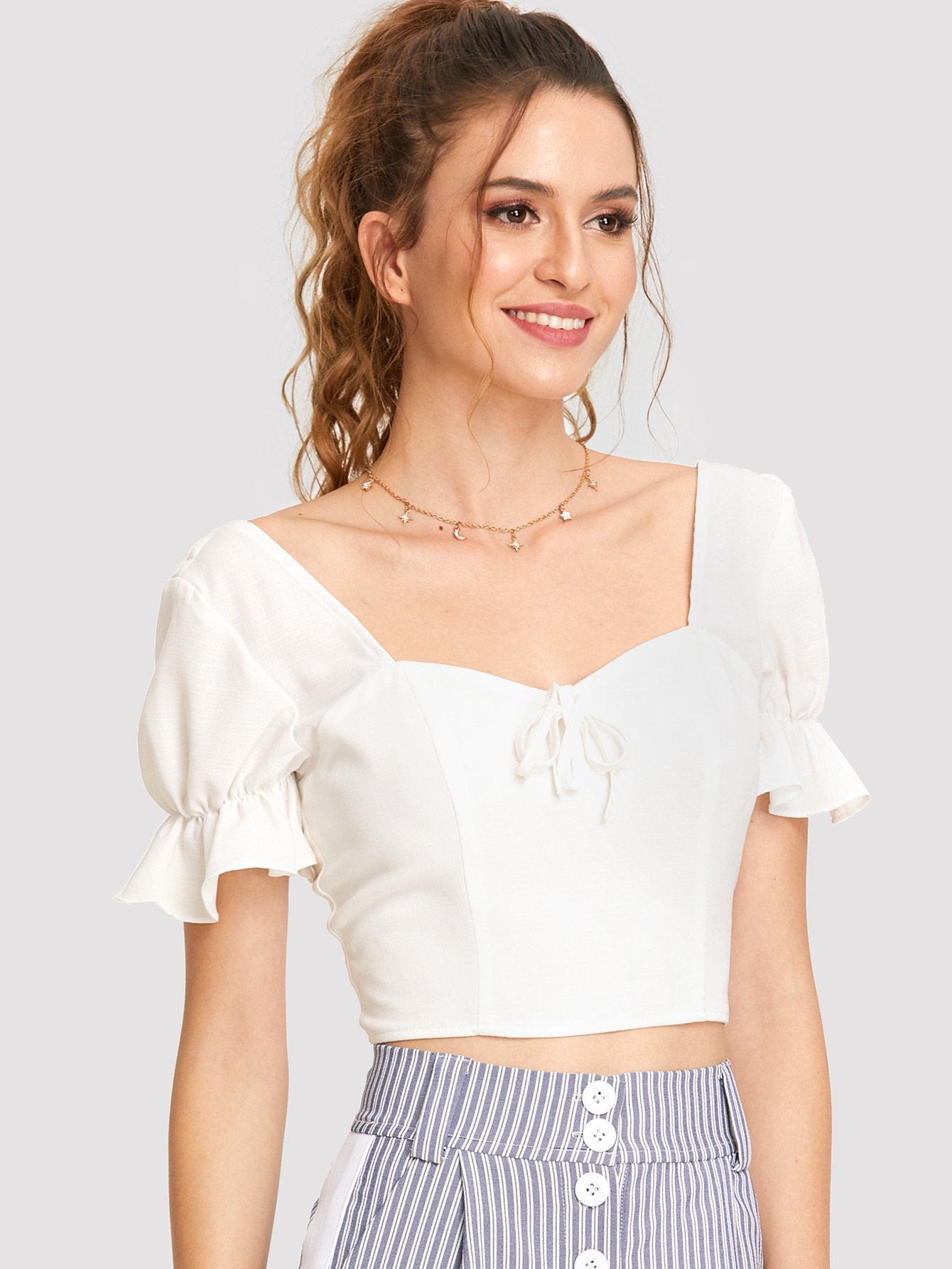 Knot Front Ruffle Sleeve Smocked Back Top knot front keyhole back flounce sleeve striped top