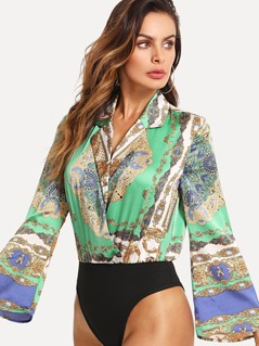 Collared Wrap Front Bell Sleeve Bodysuit